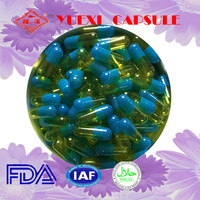 size 2 blue and yellow empty capsules gelatin empty printed capsules