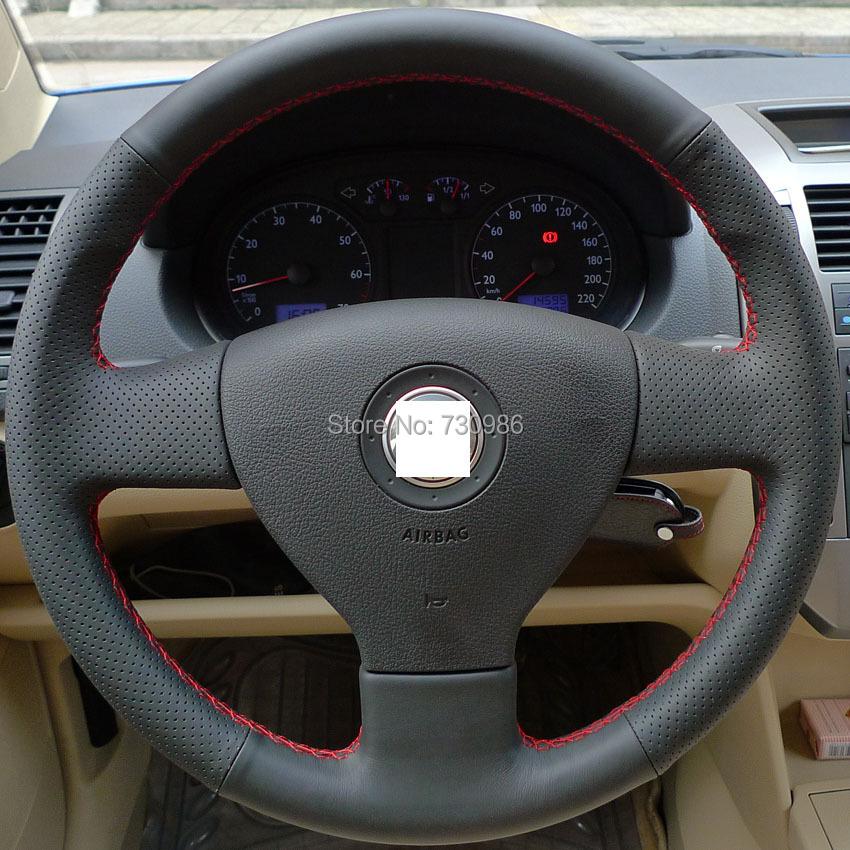 xuji black genuine leather steering wheel cover for volkswagen vw golf 5 mk5 old polo sagitar. Black Bedroom Furniture Sets. Home Design Ideas