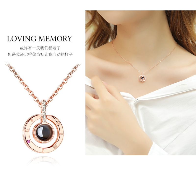New Arrival Rose Gold Silver 100 languages I love you Projection Pendant Necklace Romantic Love Memory Wedding Necklace D020-8