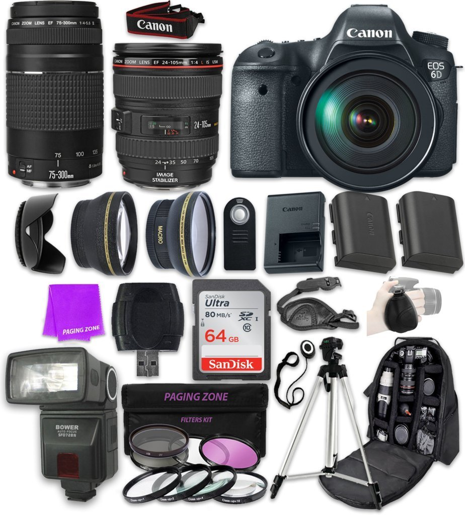 Canon EOS 6D 20.2 MP Full-Frame CMOS Digital SLR Camera Bundle with EF 24-105mm f/4 L IS USM Lens & Canon EF 75-300mm f/4-5.6 III Lens and Professional Complete Accessory Bundle