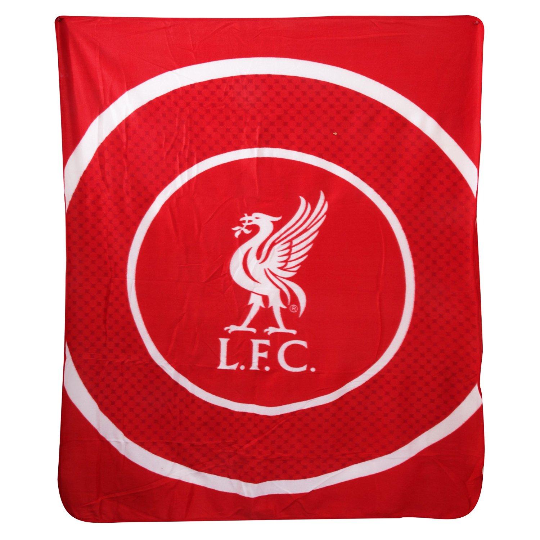 Liverpool FC Official Bullseye Football Fleece Blanket (59in x 49in) (Red/White)