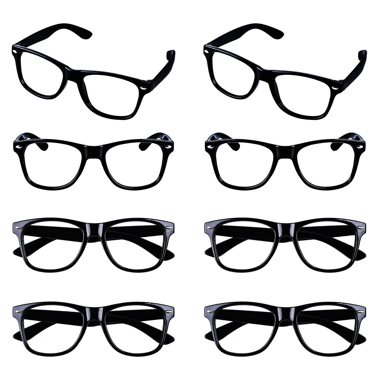 19a2472da8 Get Quotations · Aneco 8 Pairs Kids Wizard Nerd Glasses Rectangle Glasses  Frame No Lenses For Children s Costume Party