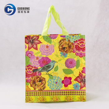 Promotional Wholesale Laminated Foldable Reusable Gift Pp Woven Shopping Bag