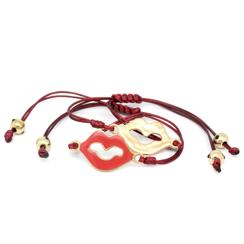 Lip Dark Red Enamel Red Gold Plated Beads Wax Rope Copper Braiding Adjustable Macrame Knots Bracelets