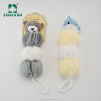 Three color animal shaped baby long net bath sponge for kids