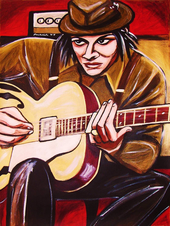 JACK WHITE PRINT POSTER guitar cd lp record album vinyl White stripes it might get loud movie kay archtop
