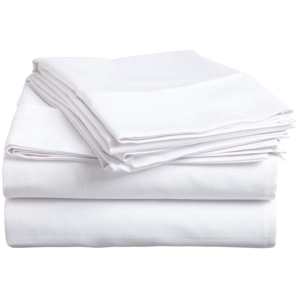 """SRP Linen 100-Percent Cotton Percale 600-Thread-Count Super Soft Hotel Bed Sheet Set With Bonus Pillowcases RV Camper Short Queen Solid White Fit Up to 12"""" inches Extra Deep Pocket with Heavy Fabric"""