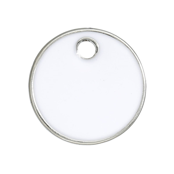 Custom Zinc Based Alloy Round Silver Tone White 16mm Epoxy Enamel Sequins Charms