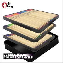 Hot sale on line high quality Non-toxic Tin Box packed 72 Color Pencil set