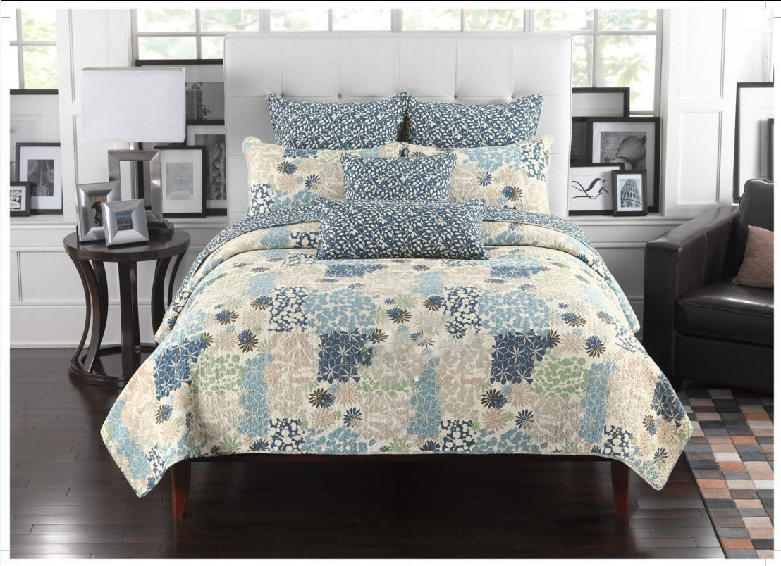Fancy Collection 2pc Twin Size Quilted Bedspread Coverlet Set Embossed Floral Blue Off White Green Beige New