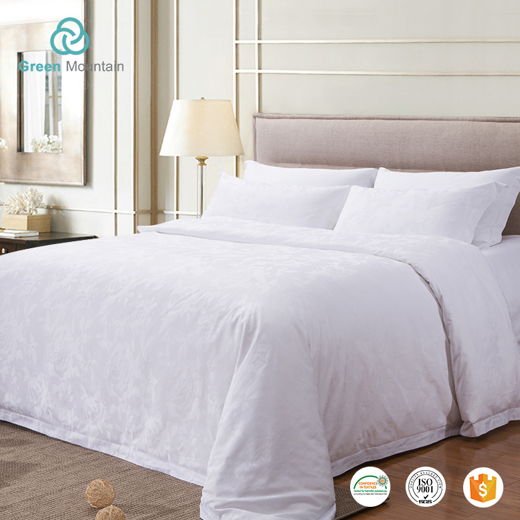 Green Mountain 4pcs white plain percale fabric wholesale polyester cot bedding set for hotel