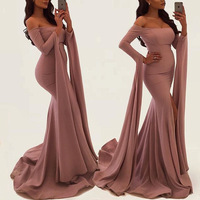 2019 New stock Nice Pink Hot Women Evening Dresses Long Sleeve Prom Gowns Ladies Party Dresses