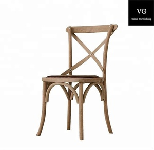 Black Wood Cross back chair with rattan seat wood dining chair