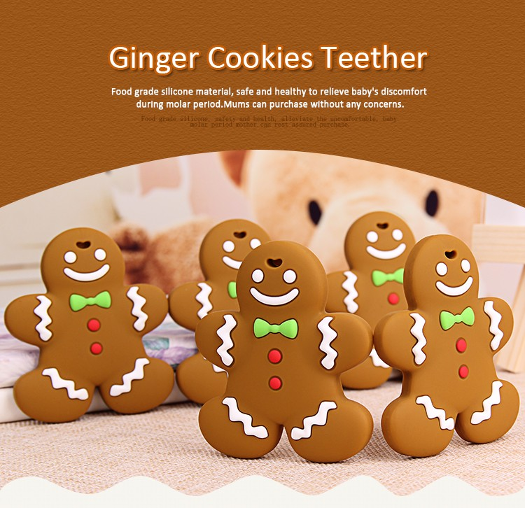 New Design Cute Silicone Gingerbread Man Teether Buy Gingerbread Man Silicone Teether Gingerbread Man Teether Product On Alibaba Com
