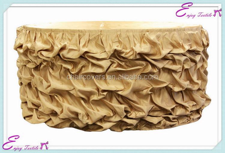 Yhk#63 Ruffled Satin Table Skirt - Polyester Banquet Wedding ...