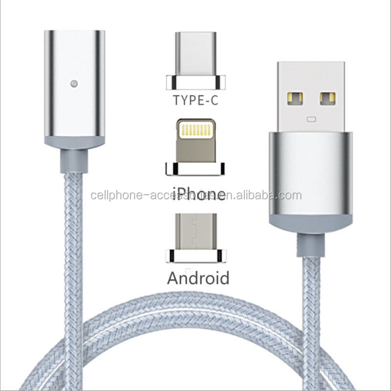 New product 2017 3 in 1 magnetic usb cable for iphone for android for type c magnetic charging cable