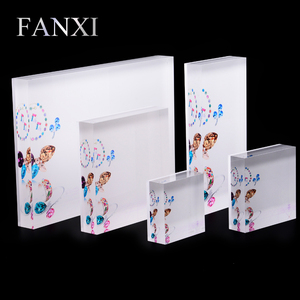 FANXI Custom Shop Counter Organizer Jewelry Ring Bracelet Necklace Holder Stands Set Board White Clear Acrylic Display Blocks