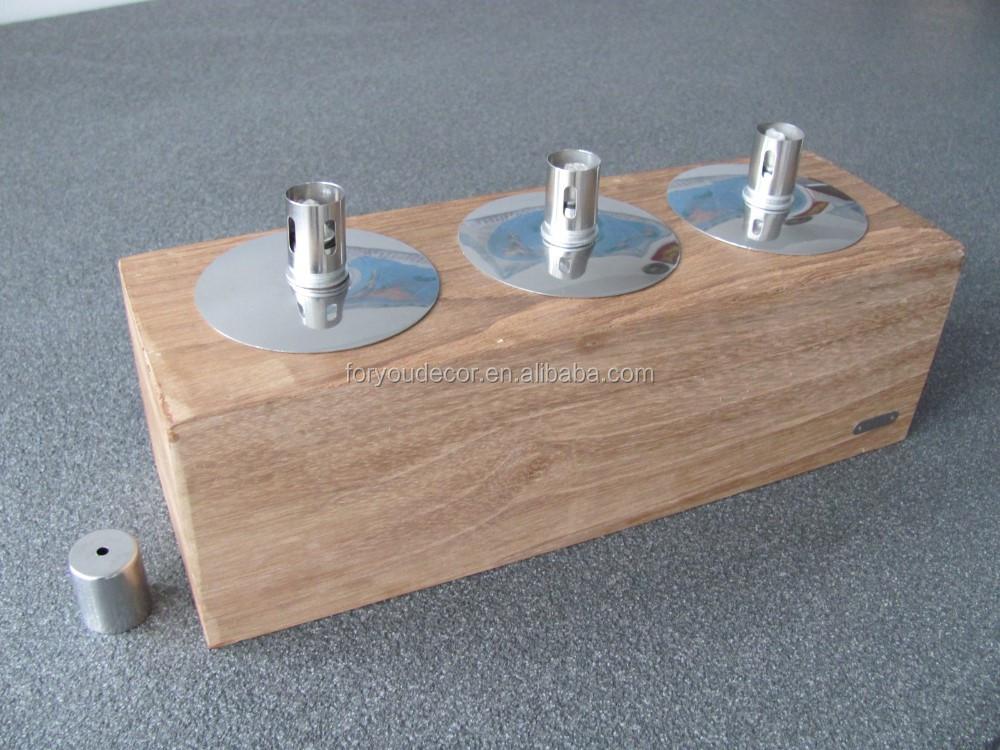 Outdoor garden and table decoration teak wooden oil lamp for Wooden kerosene lamp holder