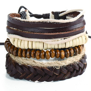 Wholesale Products Alloy Parts Genuine Leather Bracelet Handmade