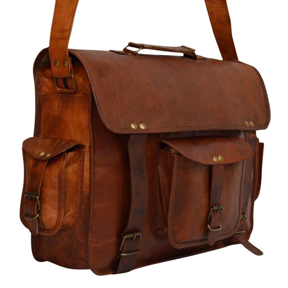 "Messenger of Leather Vintage Leather Laptop Briefcase for Men & Women. 16"" x 12"" x 5"""