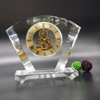 High quality fan crystal clock office desk mechanical clock for business souvenir gift
