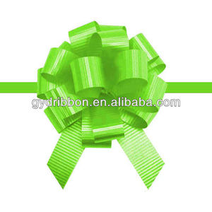 "5"" Diameter 21Loops Green Popular PP Solid Embossed Ribbon Pull Bow Gift Packing holiday decoration"