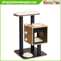 Sisal Scratcher Natural Wood Cat Tree for Sale