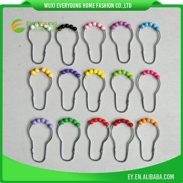 shower curtain hooks/Metal hooks with color bead