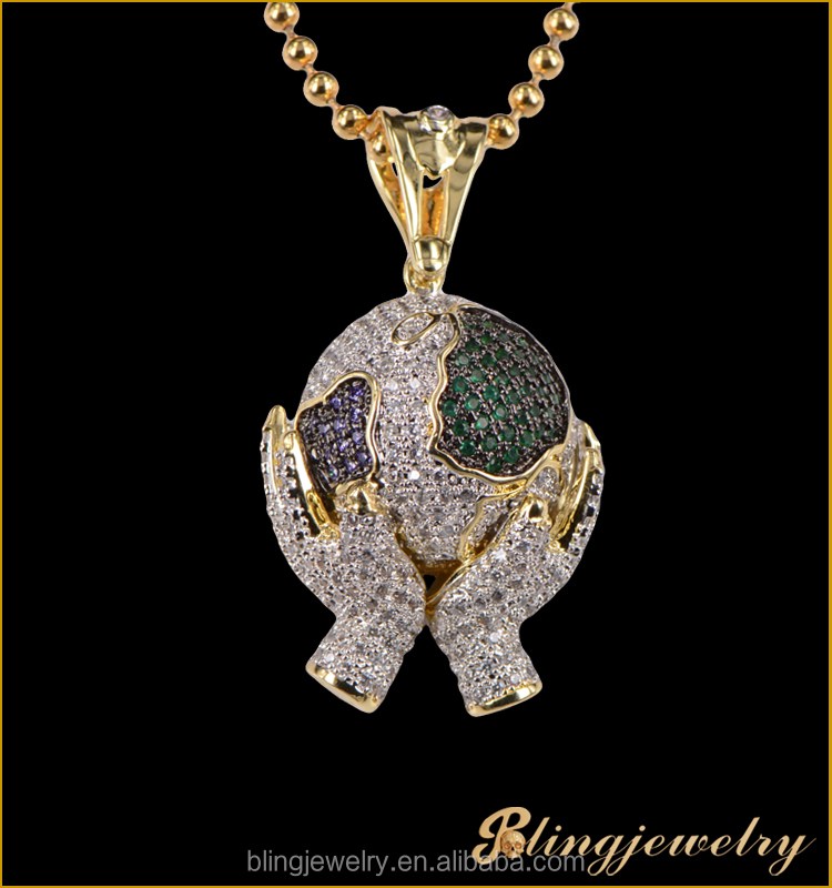 Hip Hop Micro Pave 925 Silver CZ Pendant Hands Holding Ball Pendant