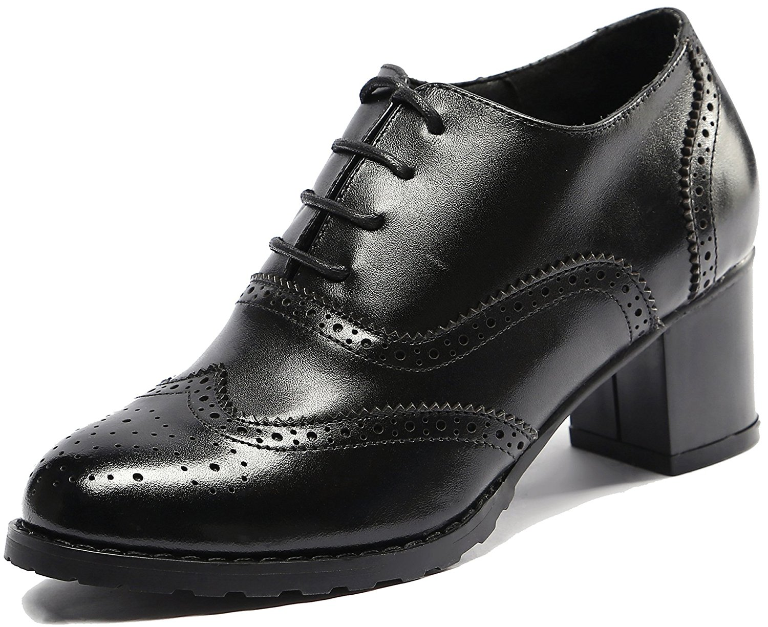 U-lite Womens Perforated Lace-up Wingtip Leather Pump Oxfords Vintage Oxford Shoes Brogues