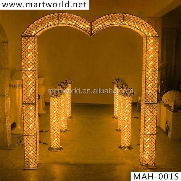 2017 new led crystal decorative pillar columns for weddings aisle