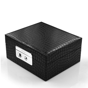 New Product Luxury Engagement Wood Ring Fingerprint Lock Jewelry Box With Custom Design