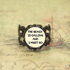 The beach is calling and I must go beach bum quote ring beach bum glass Photo Cabochon ring