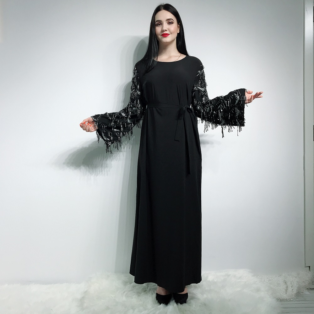 2019 Latest fashion muslim abaya in dubai soft crepe with tassels islamic clothing for women