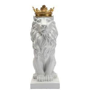 Resin royal crown black and white lion statue