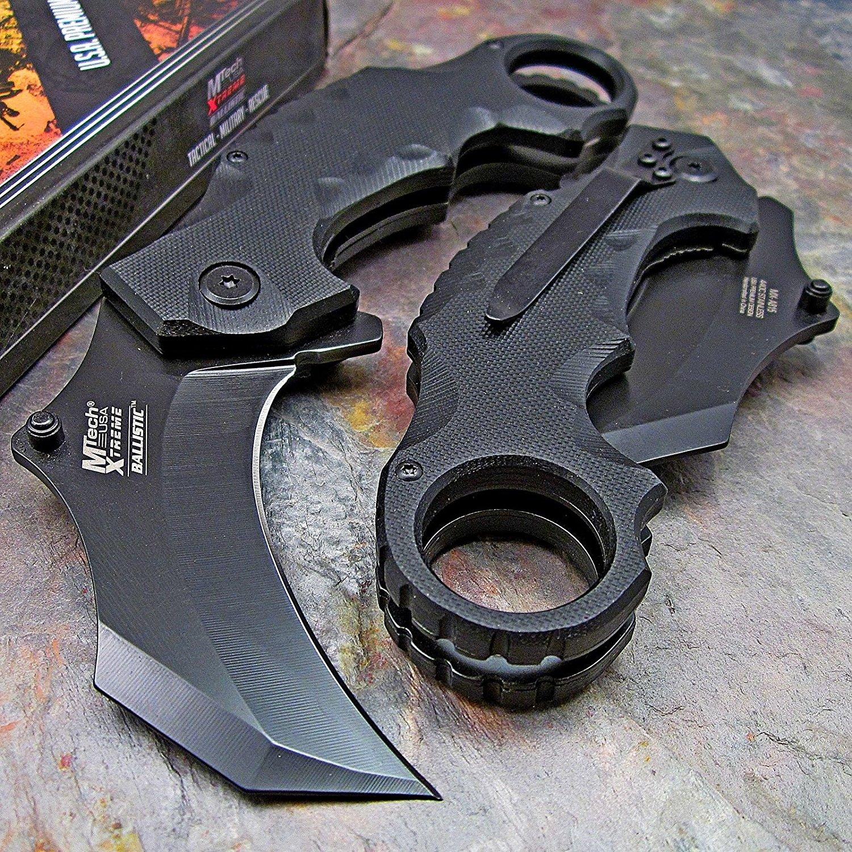 "MX-A815BK-MC Master Cutlery MX-A815BK 5"" Karambit Folder, 2.5"" black Blade, black G10 Handle with Clip"