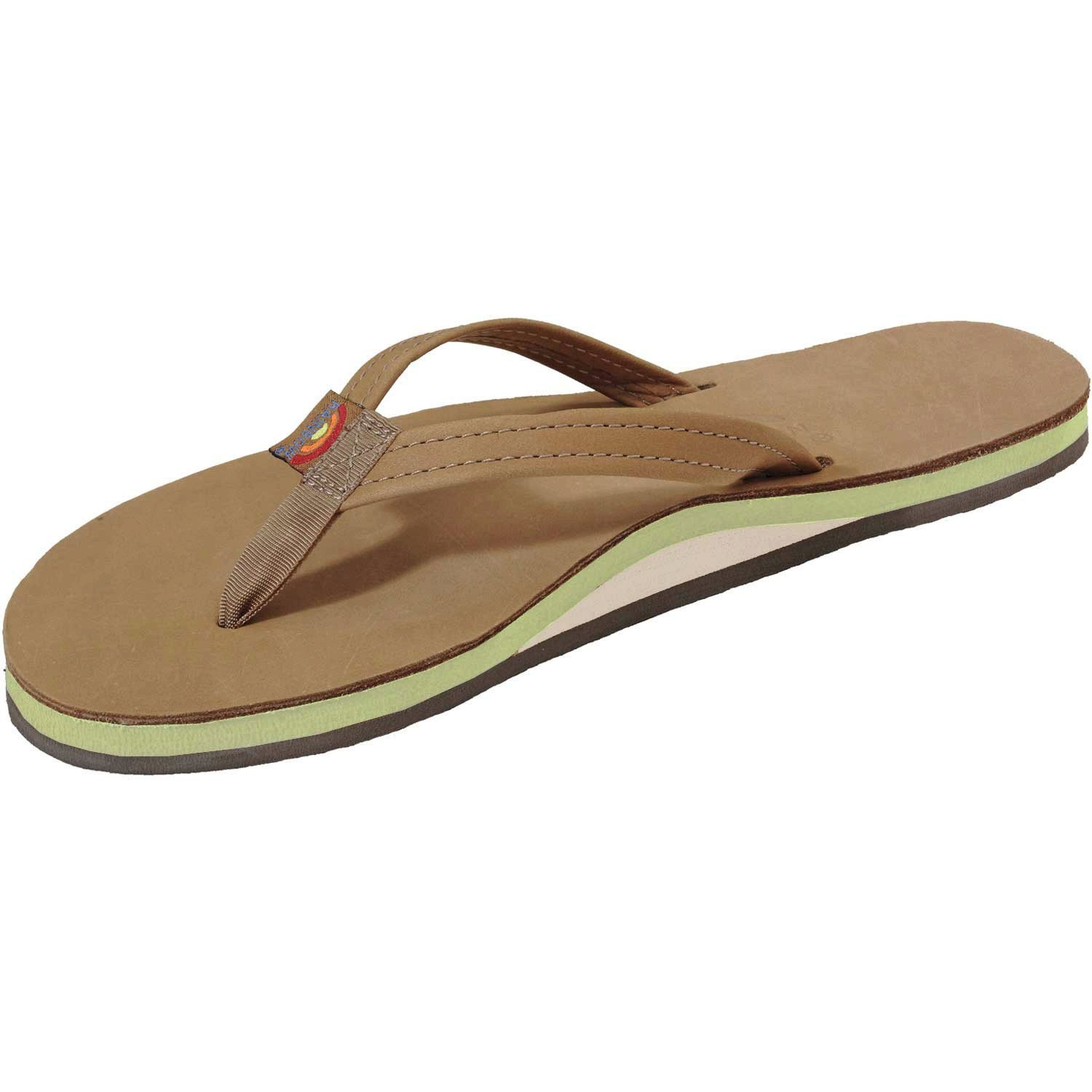 ab4fe7eb73f5 Get Quotations · Rainbow Sandals Women s Sierra Leather Single Arch Lime  Colored Midsole Large ...