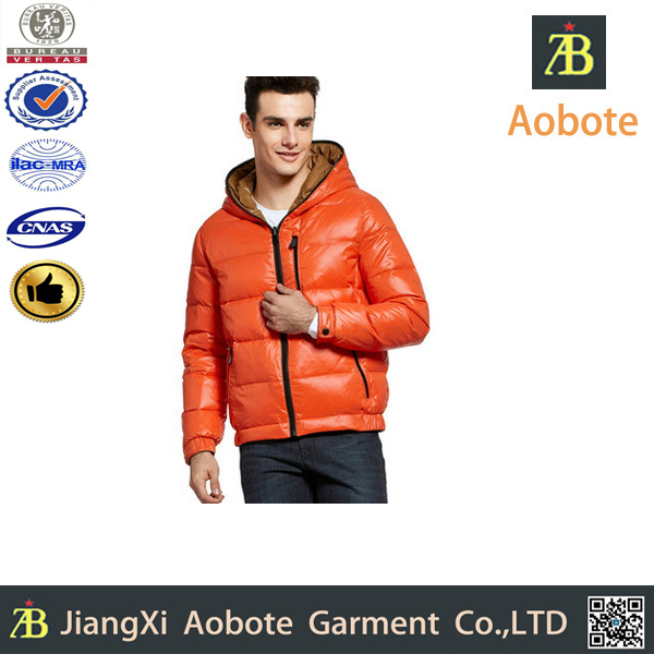 2015 Hot Selling Fashion Lightweight Orange Down Coat For Men