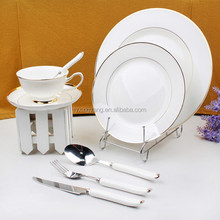 luxury cutlery set/ high quality luxury porcelain tableware/silver charger fine porcelain dinner sets