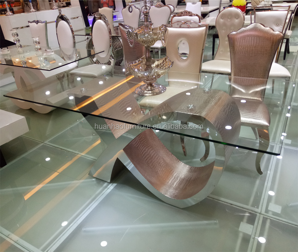 Wholesale modern furniture 8 seaters glass dining table with wedding chairs