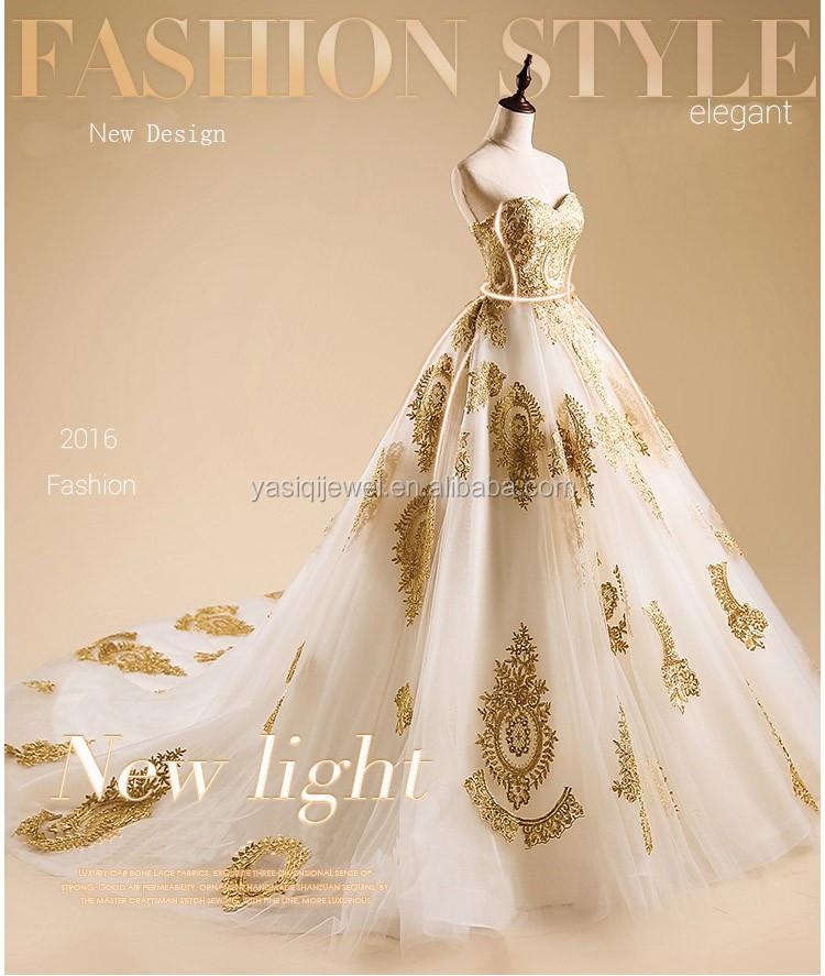Alibaba Bestnote Brautkleid Gold Spitze Blume Schwanz Hochzeitskleid ...