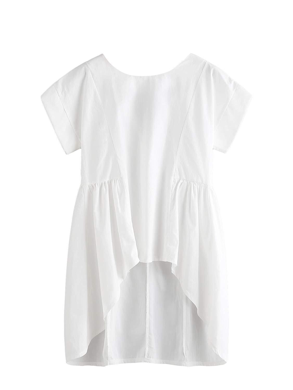 ac5c25a473e3e MakeMeChic Women s Summer Half Sleeve Dip Hem Plain Pocket T-Shirt Blouse  Crop Top. null. null. Get Quotations · Romwe Women s Ruffle High Low  Asymmetrical ...