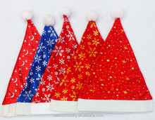 New Fashion Nice Design Colorful Various Design Single Face Fleece Santa Claus Christmas Hat Fabric with Blue Gold, Silver color