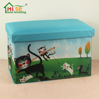 Mise foldable oxford cloth fabric storage ottoman stool kids storage organizer toy box stool chairs footrest