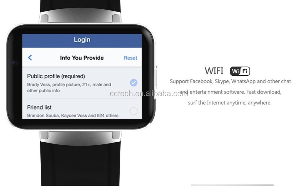 DM98 Smart watch MTK6572 1 2Ghz 2 2 inch IPS HD 900mAh