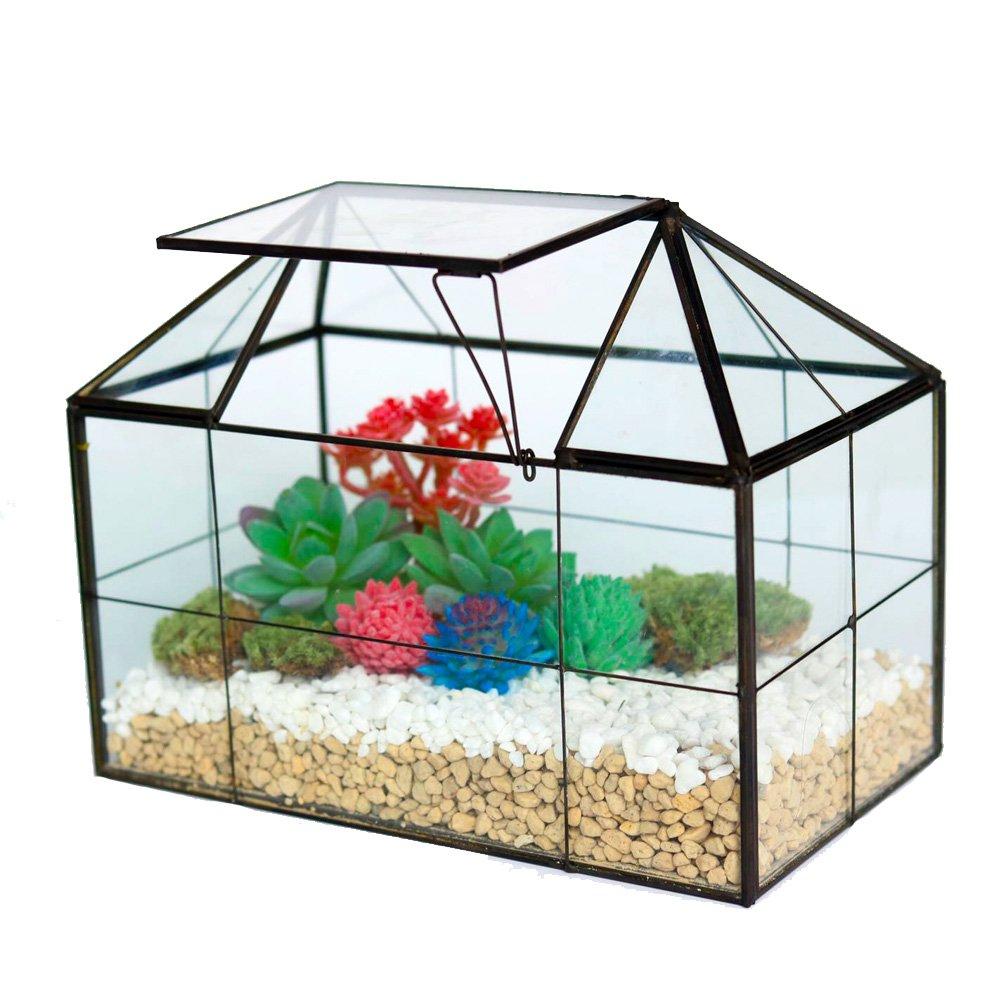 Copper House Shape Close Glass Geometric Terrariumn Succulent Planter Flower Pot
