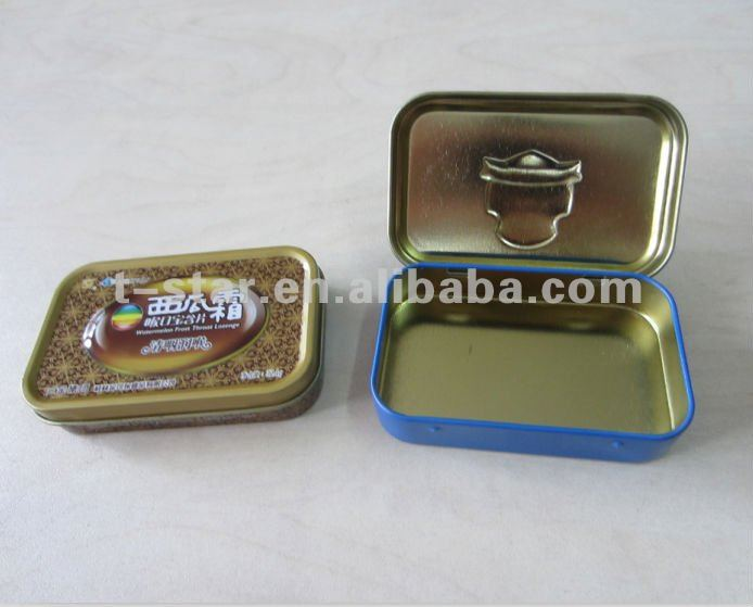 small mint/candy tin box with hinged lid