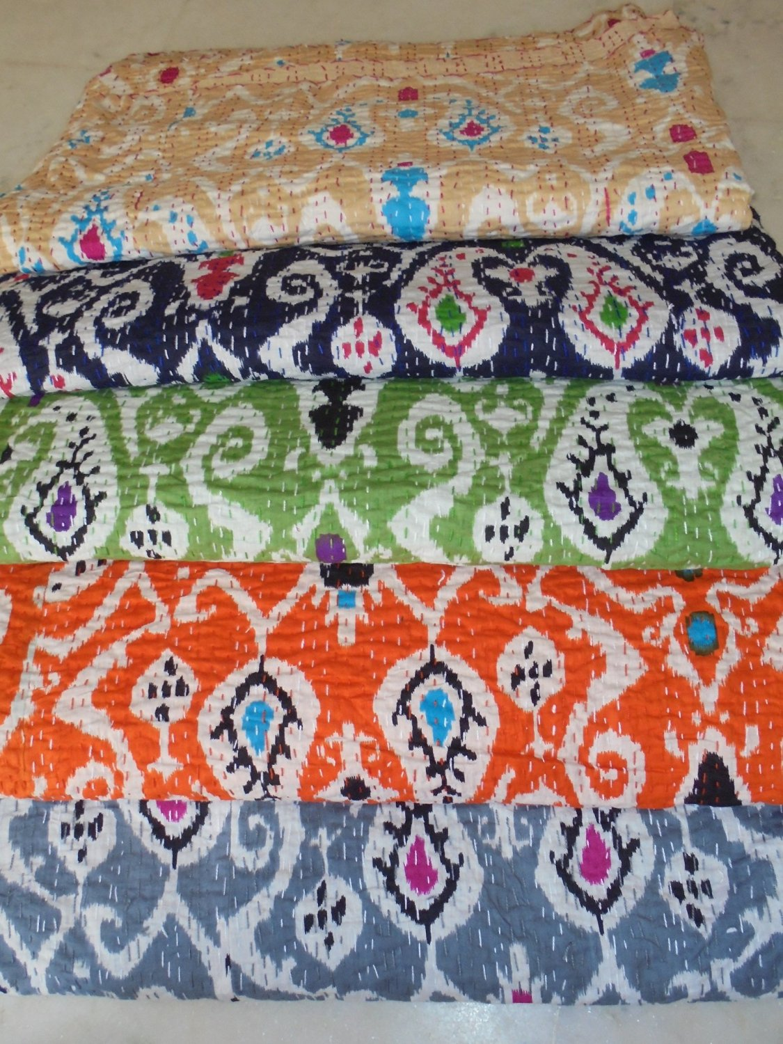 "Wholesale Lot Five Pieces Bed Covers - Bedcover - Cotton Bed Cover with Ikat Pattern - Kantha Bedspread - Kantha Quilt in Hand Stitched Pattern - Handcrafted and Hand Sewn - Light Cotton Throw Blanket- Coverlet - Boho Chic Bedspreads 108"" X 90"""