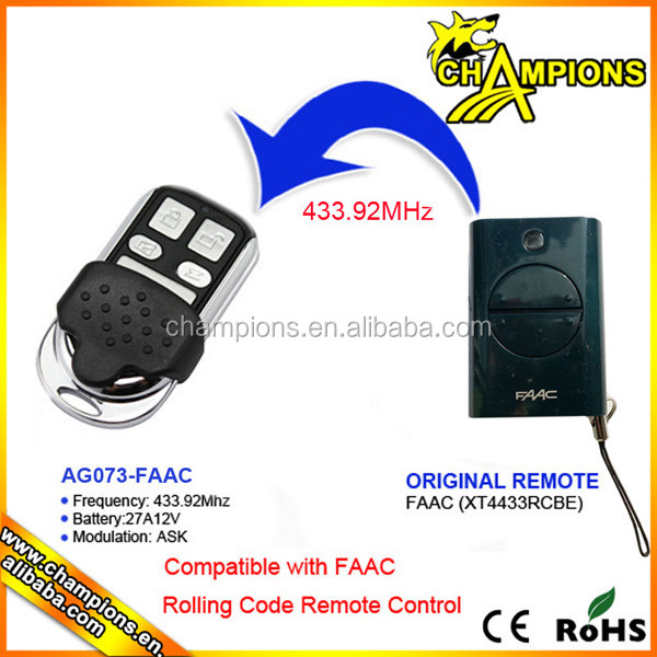 Compatible master remote control Faac 433MHz replacement remote AG-073X
