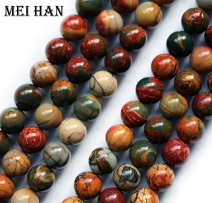 Natural mineral 6mm Picasso jasper semi-precious gemstone loose beads for jewelry making design